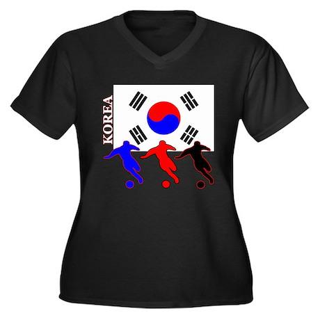 Korea Soccer Women's Plus Size V-Neck Dark T-Shirt