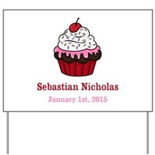 CUSTOM Cupcake w/Baby Name Date Yard Sign