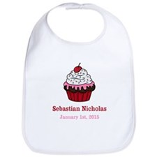 CUSTOM Cupcake w/Baby Name Date Bib