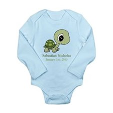 CUSTOM Green Baby Turtle w/Name and Date Body Suit