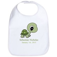 CUSTOM Green Baby Turtle w/Name and Date Bib