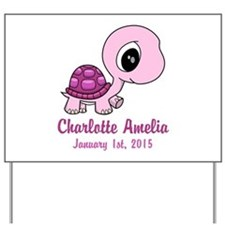 CUSTOM Pink Baby Turtle w/Name and Date Yard Sign