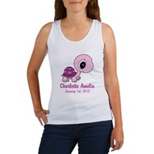CUSTOM Pink Baby Turtle w/Name and Date Tank Top