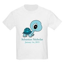 CUSTOM Baby Blue Turtle w/Name and Date T-Shirt