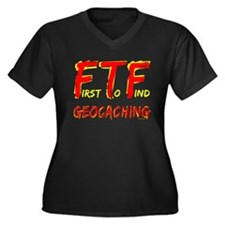 FTF Geocaching Women's Plus Size V-Neck Dark T-Shi