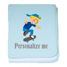 Personalize Boy On A Skateboard baby blanket