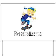 Personalize Boy On A Skateboard Yard Sign