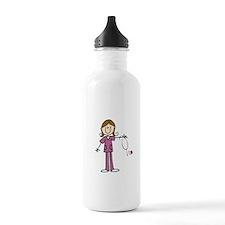 Brunette Female Nurse Sports Water Bottle