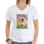 Spring / Pug Women's V-Neck T-Shirt