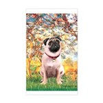 Spring / Pug Sticker (Rectangle)