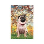 Spring / Pug Rectangle Magnet (10 pack)