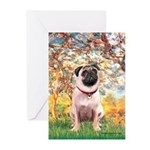 Spring / Pug Greeting Cards (Pk of 20)