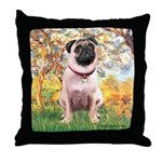 Spring / Pug Throw Pillow