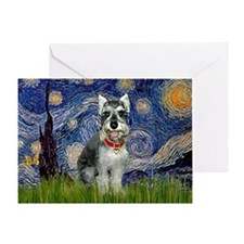 Starry Night & Schnauzer Greeting Card