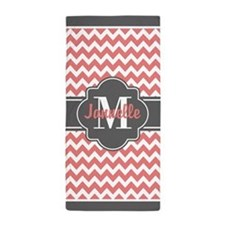 Gray and Coral Chevron Custom Monogram Beach Towel