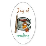 """Joy of reading (2)"" Oval Bumper Stickers"