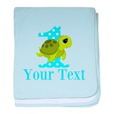 Sea Turtle First Birthday Blue Polka Dot baby blan