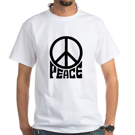 Peace Sign Men's White T-Shirt