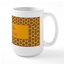 Yellow Brown Tile Pattern Personalized Mug