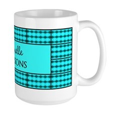 Black and Turquoise Monogrammed Tile Pa Mug