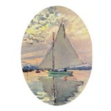 Sailing Ship by Monet Oval Ornament