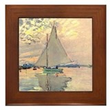 Sailing Ship by Monet Framed Tile