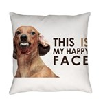 Happy Face Dachshund Everyday Pillow