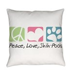 Peace Love Shih Poos Everyday Pillow