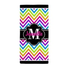 Black Trin Neon Chevron Custom Monogra Beach Towel