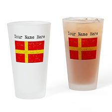 Skane Flag (Distressed) Drinking Glass