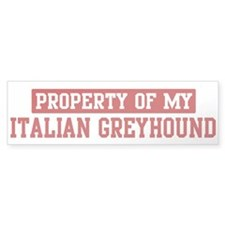 Property of Italian Greyhound Bumper Bumper Sticker