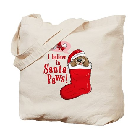 Santa Paws Puppy Tote Bag