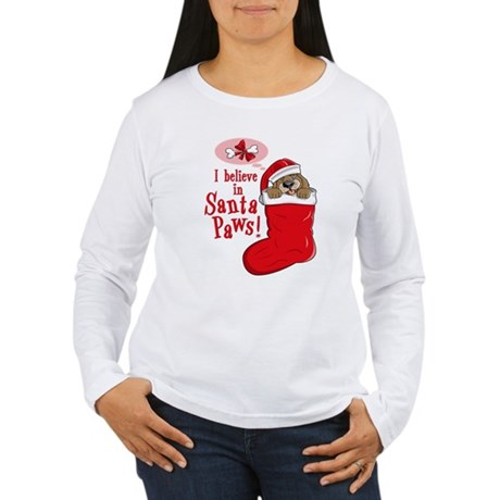 Santa Paws Puppy Women's Long Sleeve T-Shirt