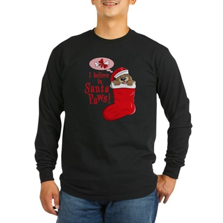 Santa Paws Puppy Long Sleeve Dark T-Shirt