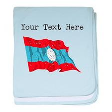 Laos Flag (Distressed) baby blanket