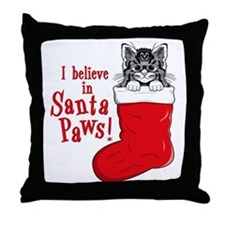 Santa Paws Kitty Throw Pillow