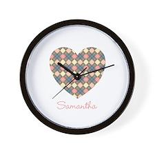 Heart Shape Argyle Personalized Wall Clock