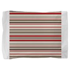 Red Gray Brown Stripes Pillow Sham
