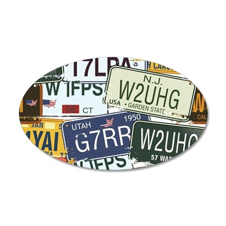 Vintage License Plates Wall Decal