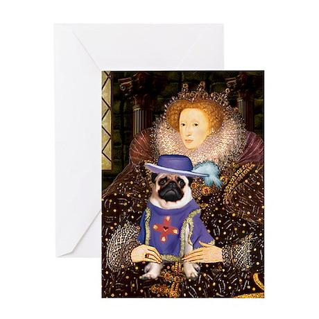 The Queen & Sir Pug Greeting Card
