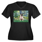 Bridge / Pug Women's Plus Size V-Neck Dark T-Shirt