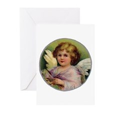 Angel on Green Background Greeting Cards (Package
