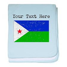 Djibouti Flag (Distressed) baby blanket