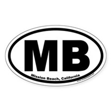 Mission Beach, California MB Oval Decal