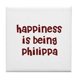 happiness is being Philippa Tile Coaster