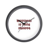 happiness is being Philippa Wall Clock