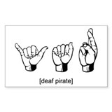 Deaf Pirate Rectangle Decal