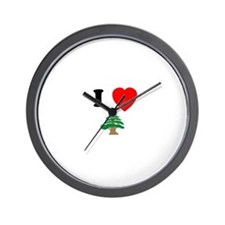 I heart Cedar Wall Clock
