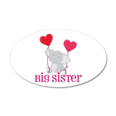 Big Sister Elephant 35x21 Oval Wall Decal