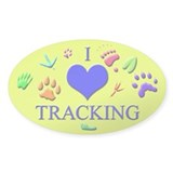 I Love Tracking Oval Decal